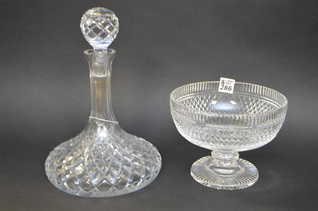 """Waterford footed bowl (5 1/2""""h) and ships decanter (11 - 4"""
