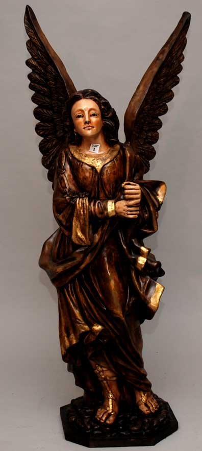 1: Polychrome painted wood Italian angel , early 20th