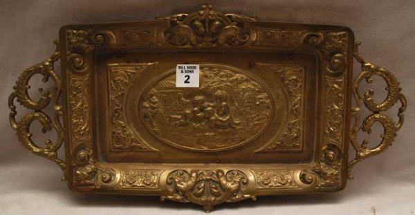 2: Cherubic bronze card tray, embossed imagery with fro