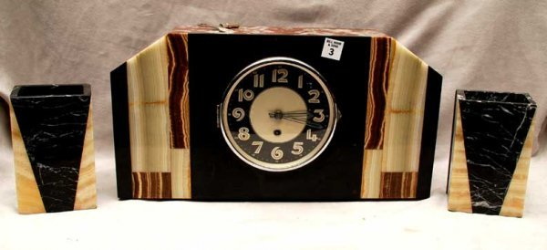 "3: Deco marble garniture clock, working with key, 18""w"
