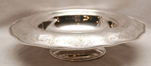 9C: Sterling footed centerpiece, with etched folded rim