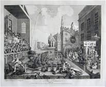 291F: 3 vintage 18th century William Hogarth engravings