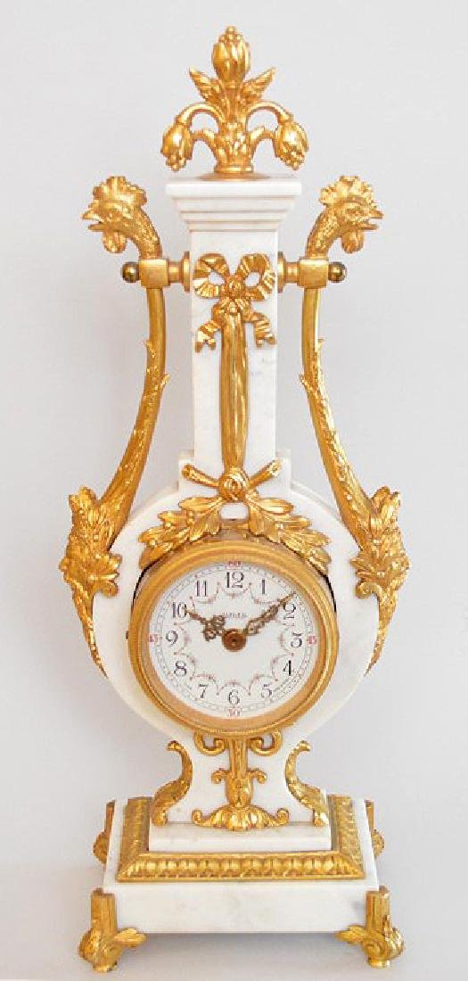 Jaeger Gilt Bronze & Marble Clock.  The Gilt Bronze