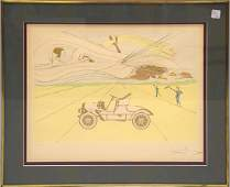 Salvador Dali Etching, CAR/FIGURES in landscape, signed