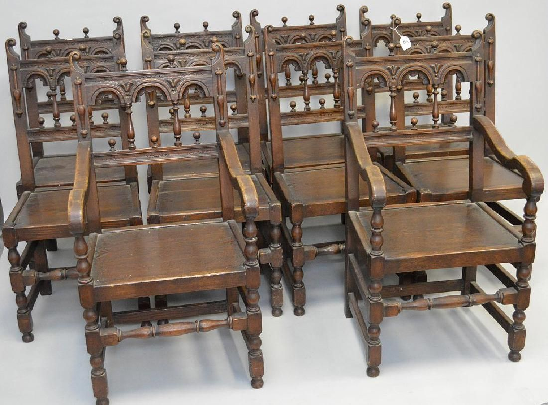10 Addison Mizner style oak chairs, 8 side and 2 arm