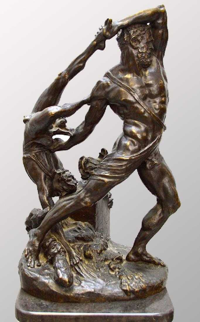 Bronze sculpture, nude male wrestling with figure, 17h