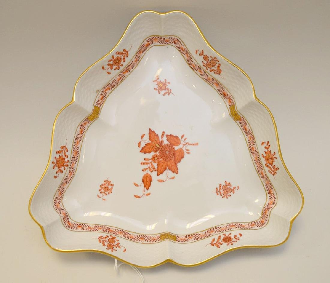 Herend Chinese Bouquet Rust Triangular Bowl.