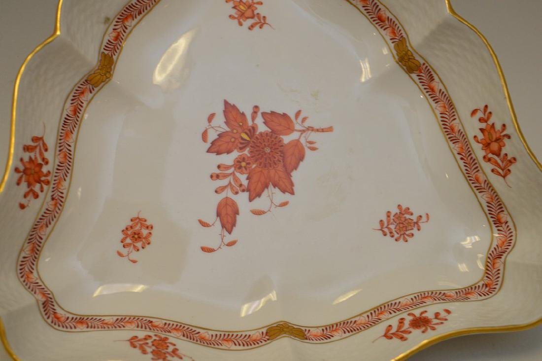 Herend Chinese Bouquet Rust Triangular Bowl. - 2