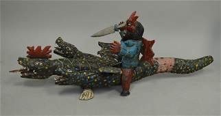 Fantastic Mexican Folk Art carved and painted wooden 3