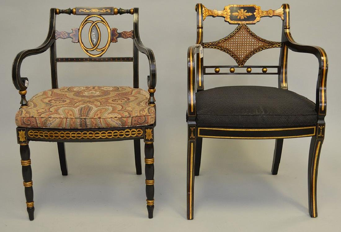 2 Smith & Watson decorated painted arm chairs