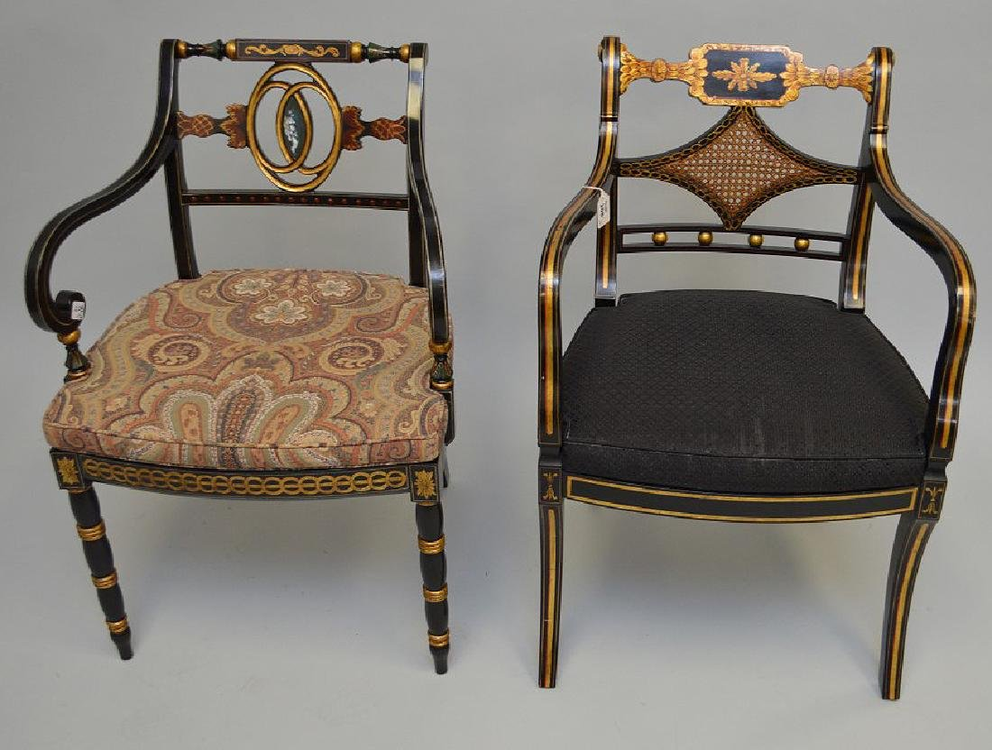 2 Smith & Watson decorated painted arm chairs - 2