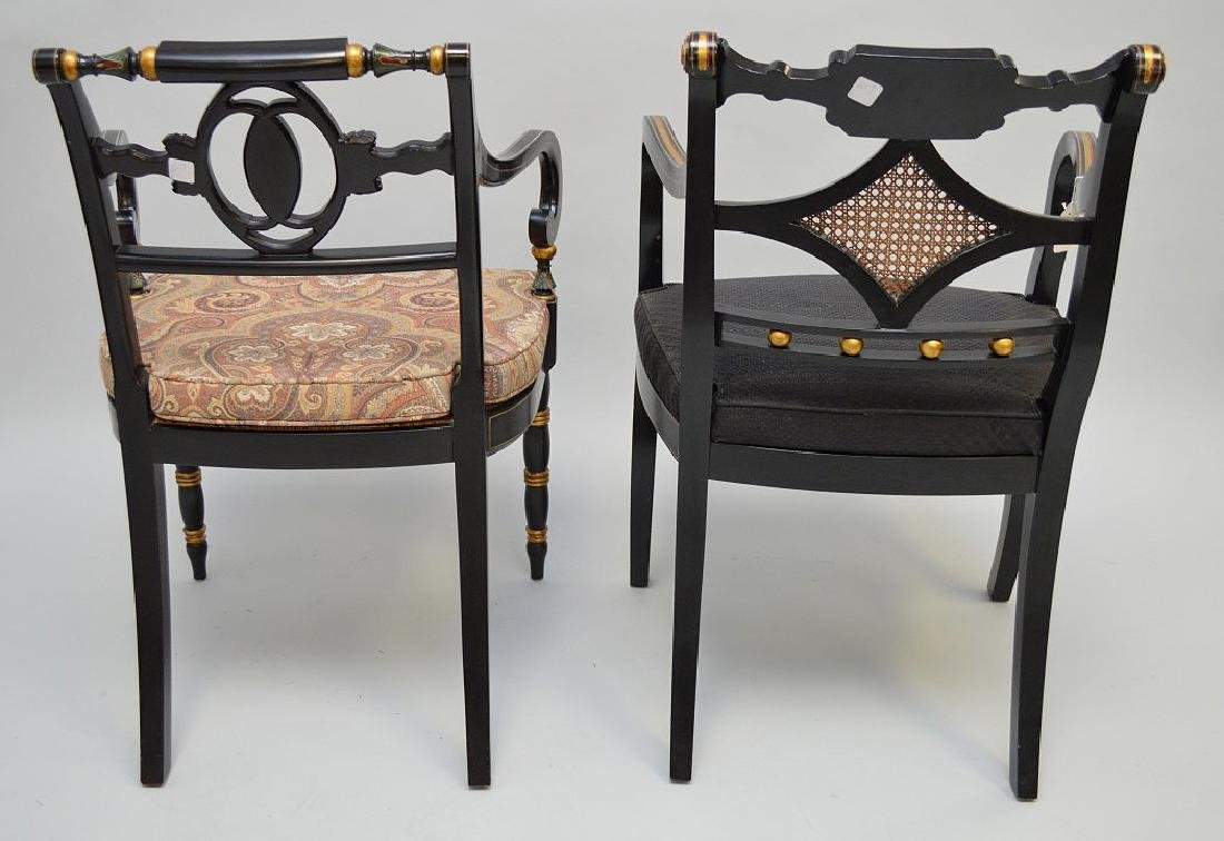 2 Smith & Watson decorated painted arm chairs - 5