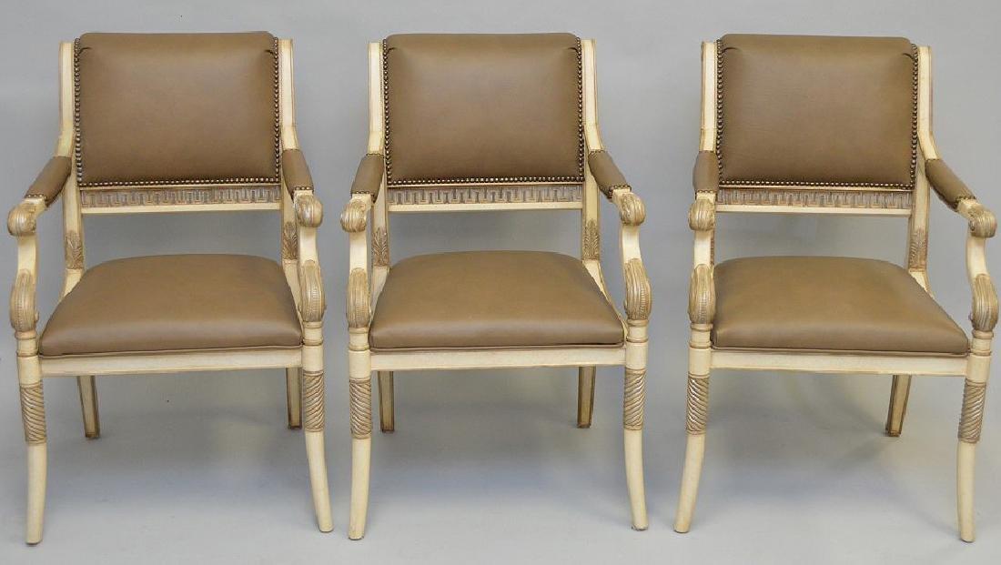 3 Ferguson Copeland white & taupe leather arm chairs