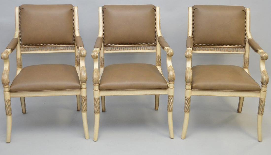 3 Ferguson Copeland white & taupe leather arm chairs - 2