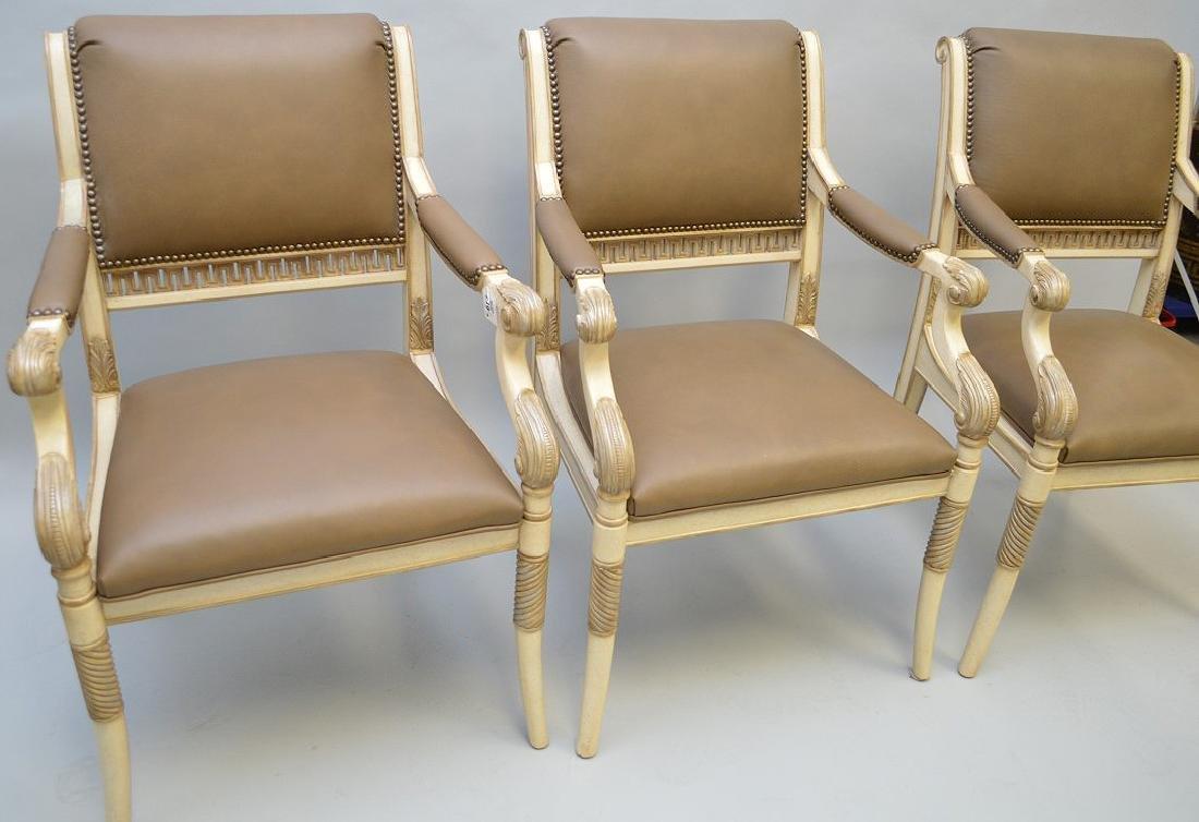 3 Ferguson Copeland white & taupe leather arm chairs - 3