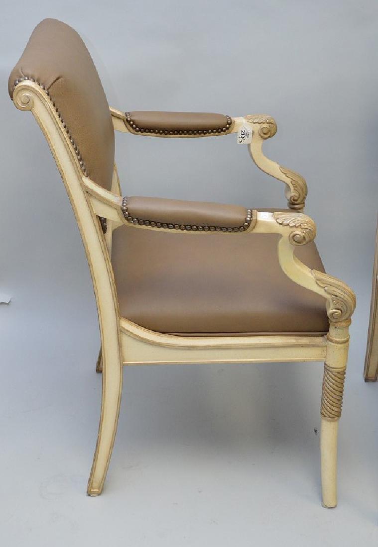 3 Ferguson Copeland white & taupe leather arm chairs - 4