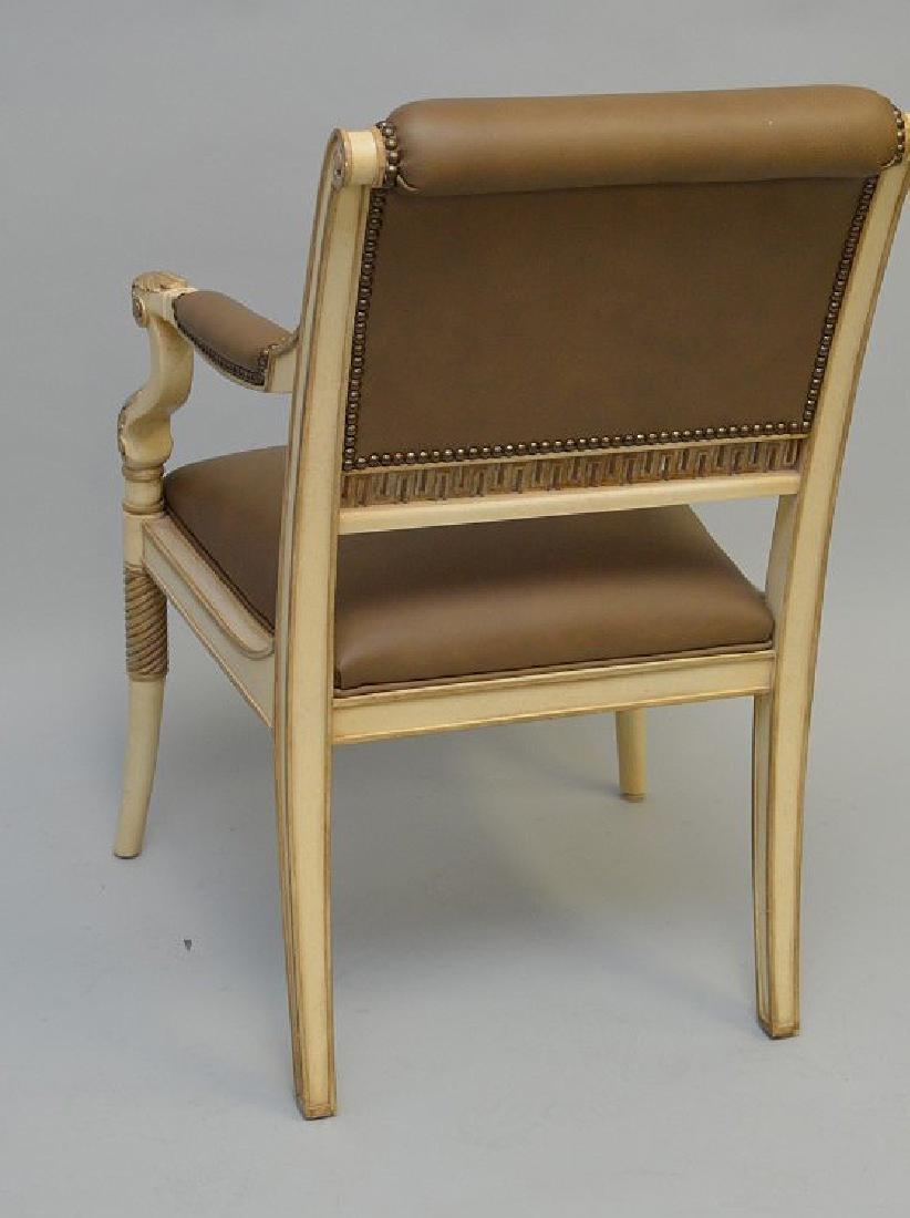 3 Ferguson Copeland white & taupe leather arm chairs - 5