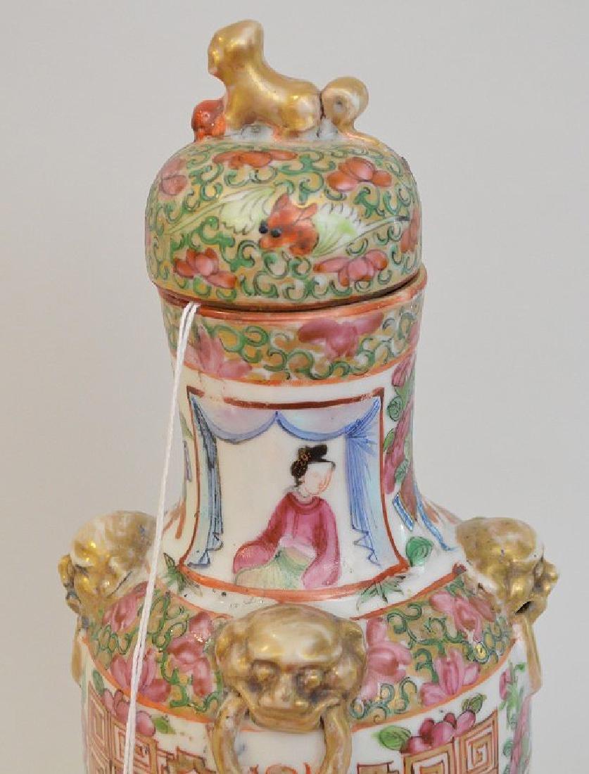 CHINESE ROSE MANDARIN PORCELAIN URN.  Condition: good - 3