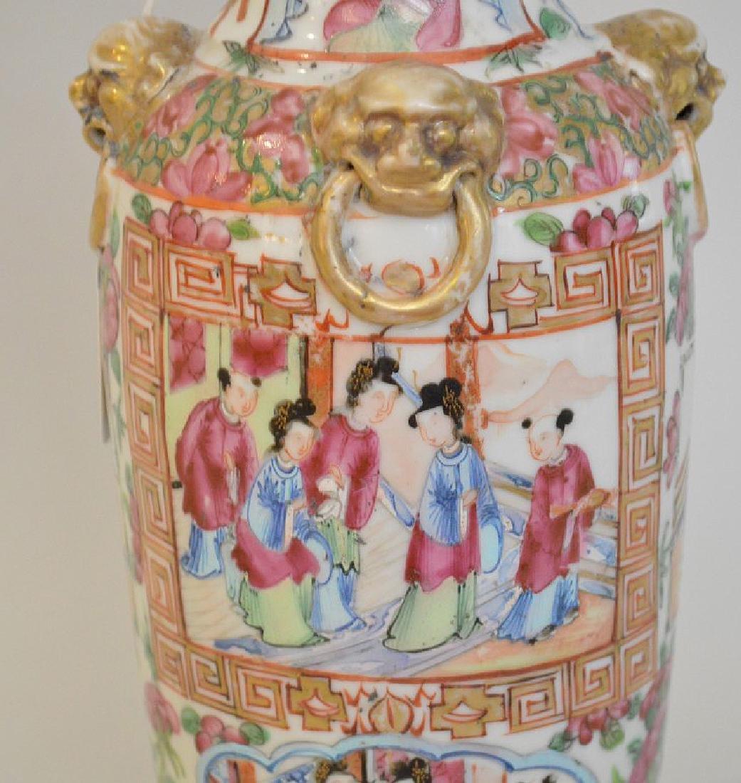 CHINESE ROSE MANDARIN PORCELAIN URN.  Condition: good - 4