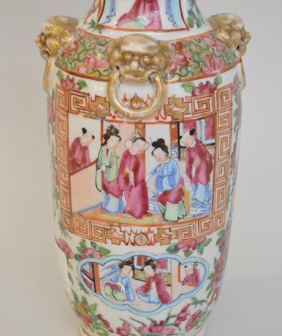 CHINESE ROSE MANDARIN PORCELAIN URN.  Condition: good - 6