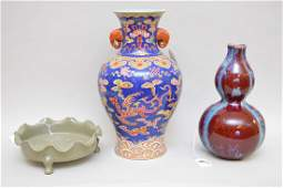 3 CHINESE PORCEALIN ARTICLES  Large Vase with figural