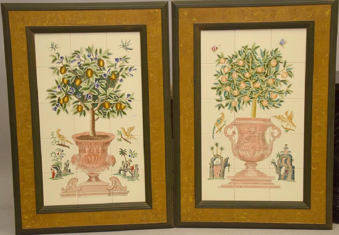 Pair of Painted and framed tiles, each tile is 6 x
