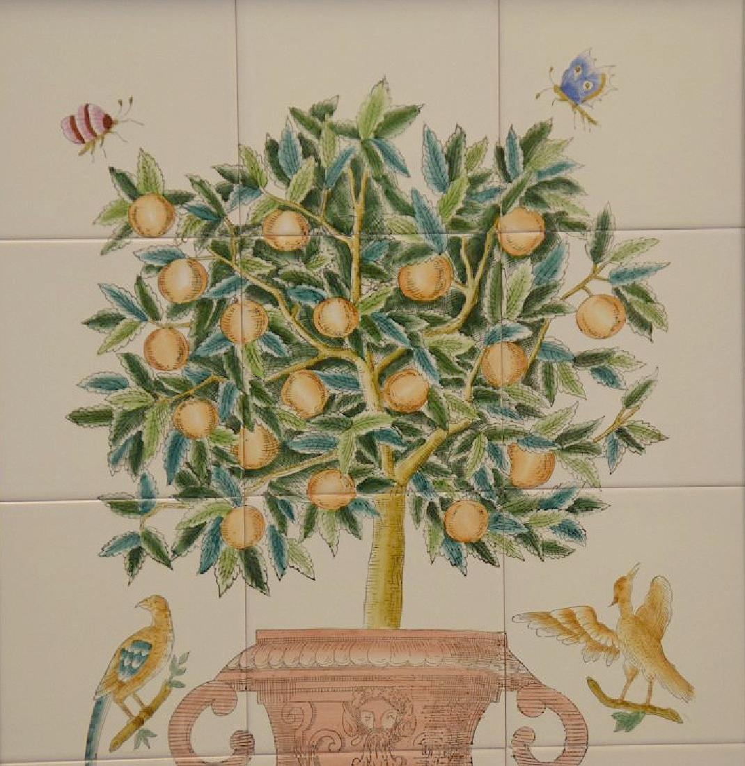 Pair of Painted and framed tiles, each tile is 6 x - 2