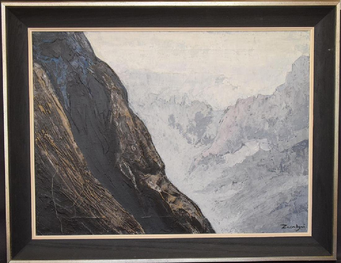 oil on canvas of a Cliff Side,, illegibly signed,  24 x