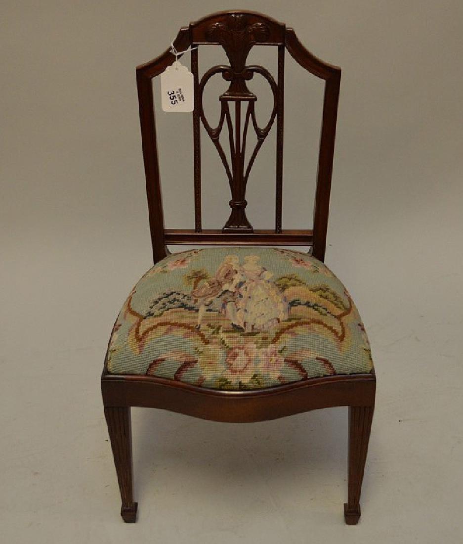 Mahogany child's chair  needlepoint by Smith & Watson