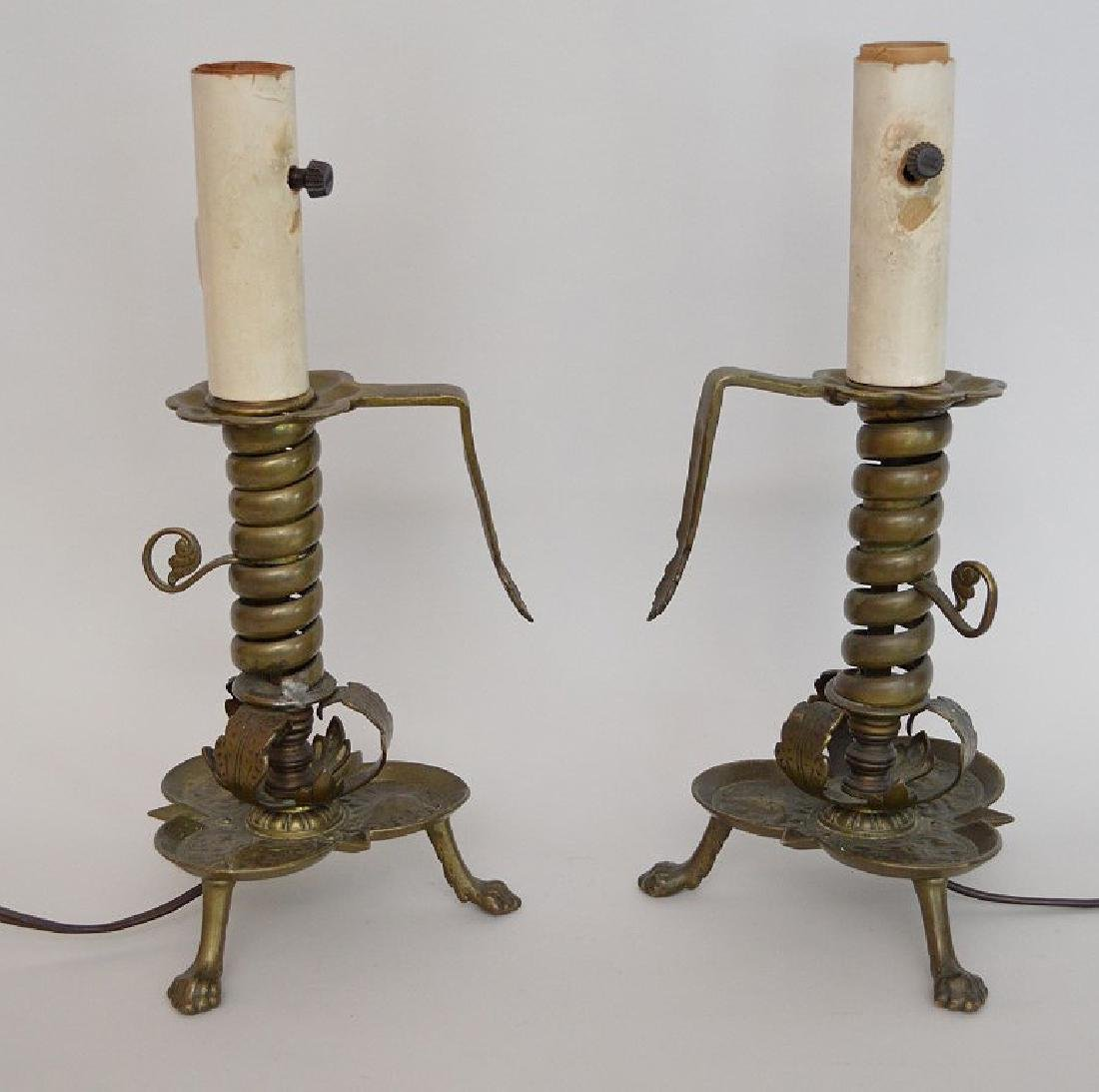 Pair electric brass converted 3 brass footed