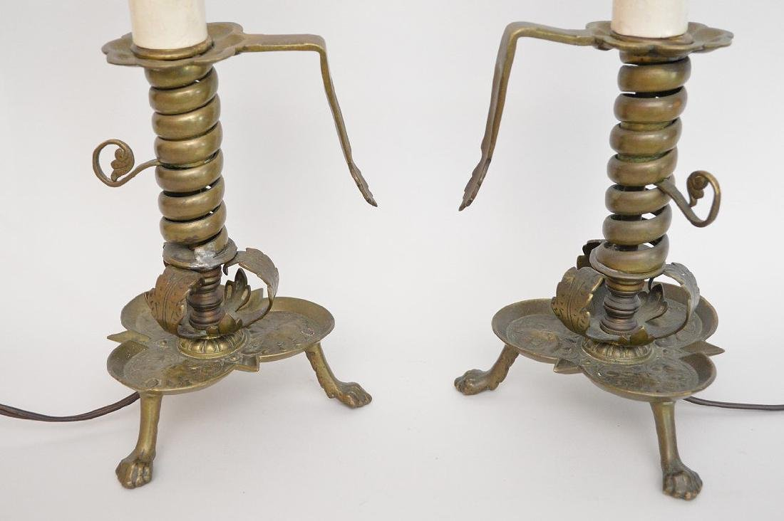 Pair electric brass converted 3 brass footed - 2