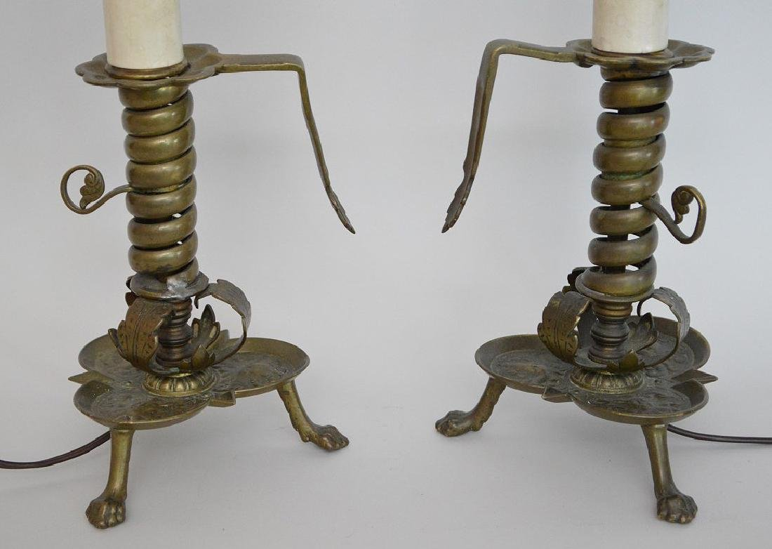 Pair electric brass converted 3 brass footed - 4