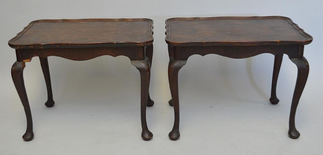 Pair mahogany end tables with burled wood surfaces