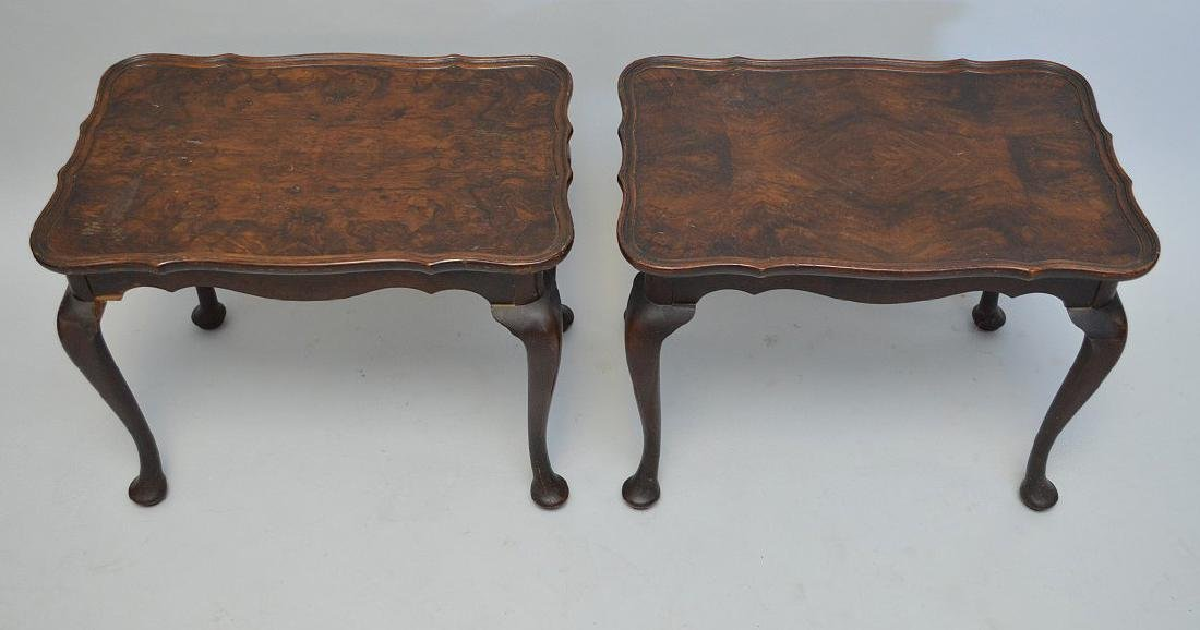 Pair mahogany end tables with burled wood surfaces - 2