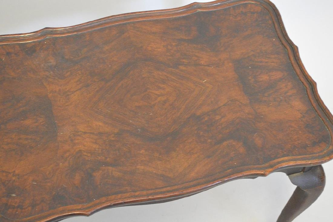 Pair mahogany end tables with burled wood surfaces - 4