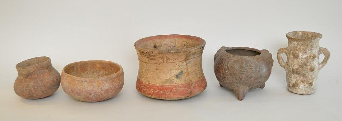 LOT OF 5 PRE-COLUMBIAN POTTERY VESSELS - Mexico and