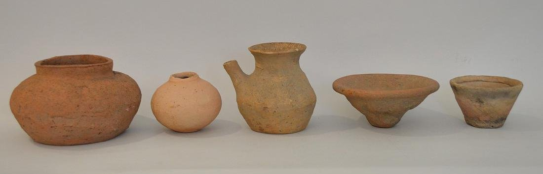 Five Early Japanese Earthenware Pottery Vessels -