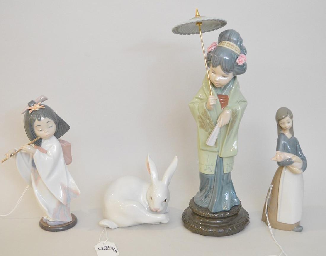 4 Lladro Porcelain Figures.  Asian Girl With Umbrella
