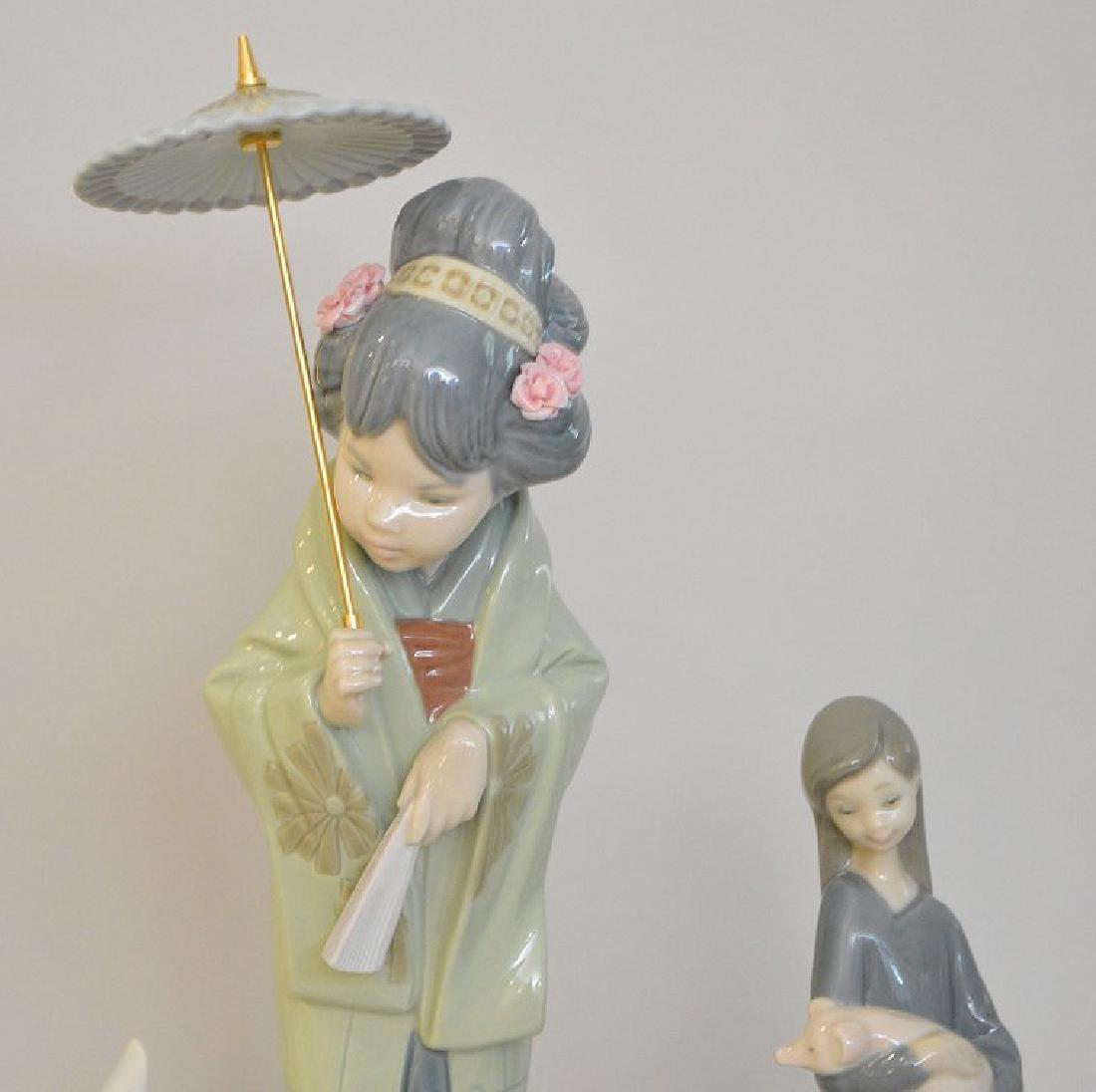4 Lladro Porcelain Figures.  Asian Girl With Umbrella - 2