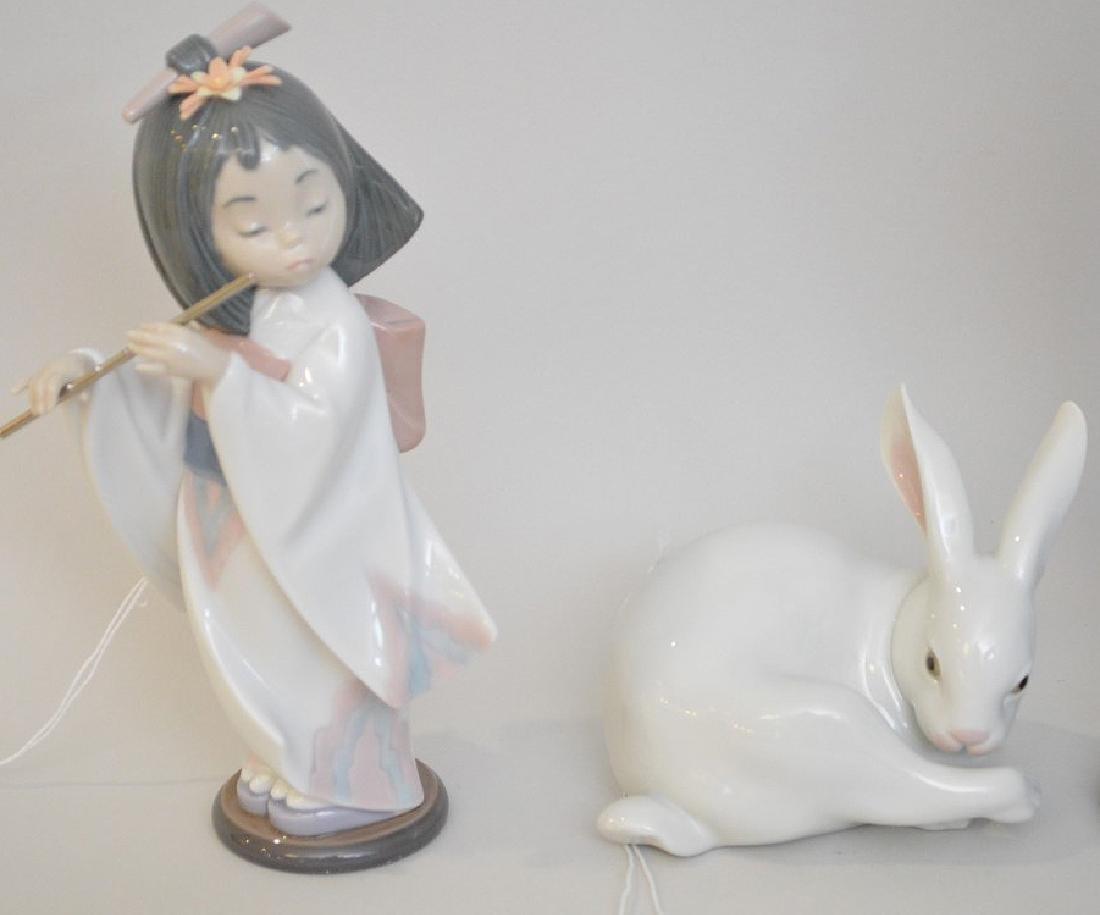 4 Lladro Porcelain Figures.  Asian Girl With Umbrella - 3