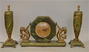 ART DECO 3 PIECE ONYX  GILT METAL CLOCK GARNITURE