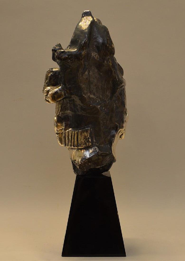 Large Mexican Sterling Bust on a black lacquer base. - 6