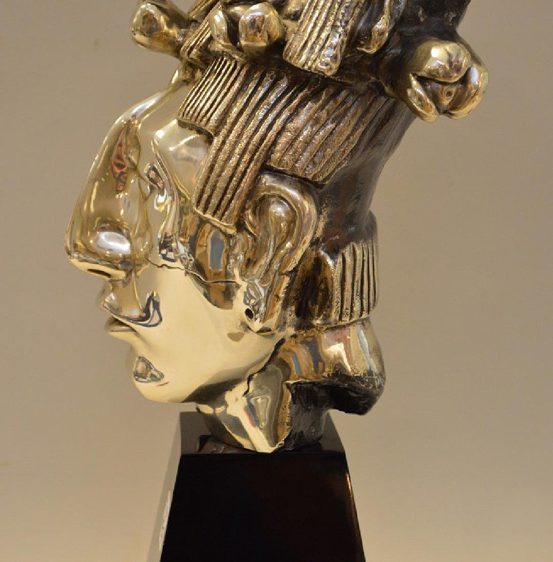 Large Mexican Sterling Bust on a black lacquer base. - 8