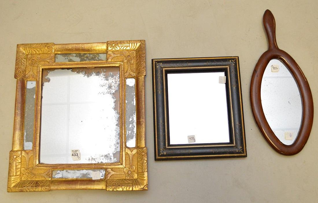 3 ASSORTED ANTIQUE MIRRORS.  Early Carved Giltwood