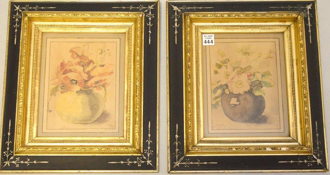 Pair of Antique watercolors in black gold frames, still
