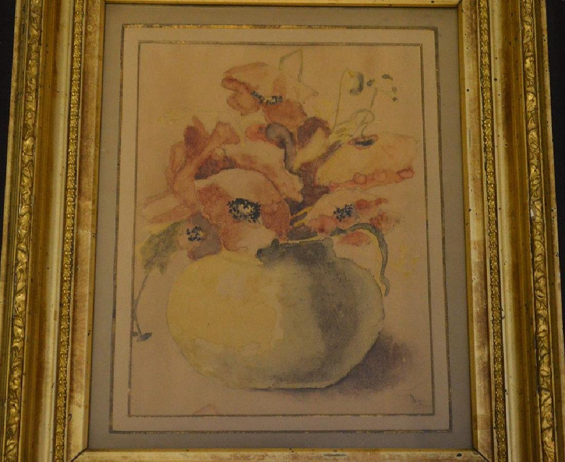 Pair of Antique watercolors in black gold frames, still - 3