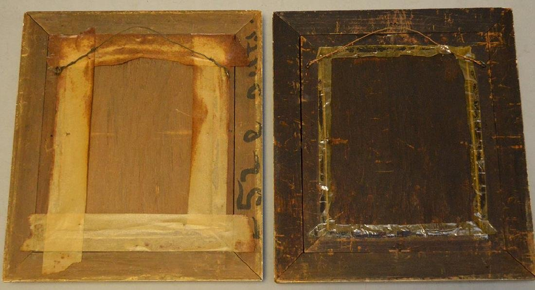 Pair of Antique watercolors in black gold frames, still - 6