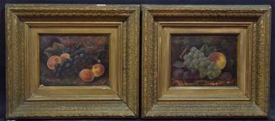 Pair Antique still life fruits, paintings 7 x 9 inches,