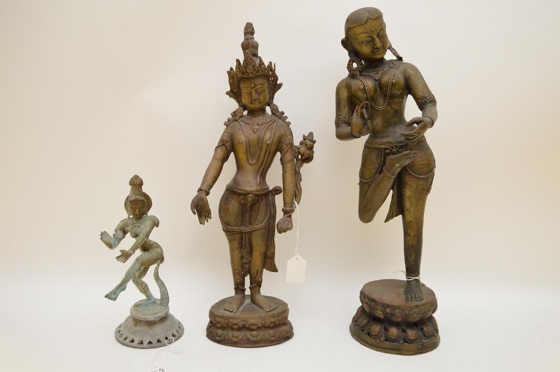 THREE ANTIQUE HINDU & BUDDHIST BRONZE STATUES -