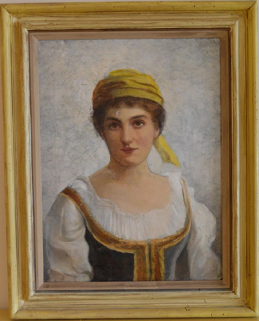 19th century oil on canvas painting of European woman